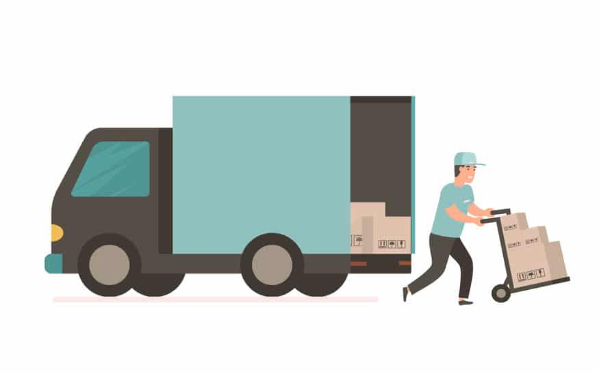 flat vector illustration of hgv lorry driver delivering goods on trolley